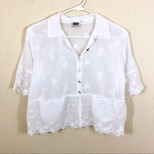 Johnny Was Embroidered Eyelet White Cropped Blouse
